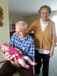 Makenzie's GREAT grandparents.  What a lucky lady she is to have 6 grandparents!